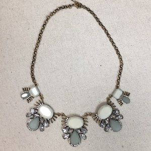 Statement Necklace moss colored acrylic gems